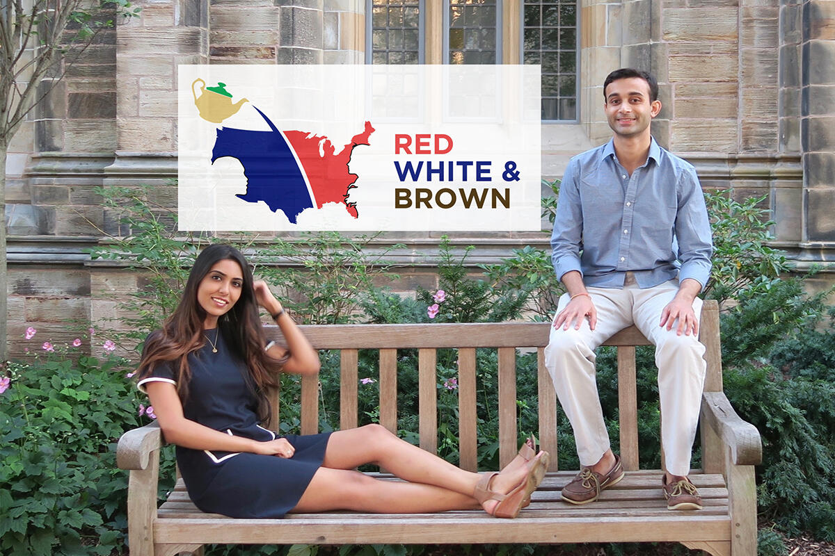 The hosts of Red, White & Brown on the Yale campus