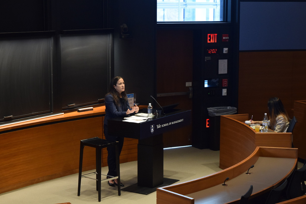 Georgia Keohane gives her talk at Yale SOM's Social Impact Lab