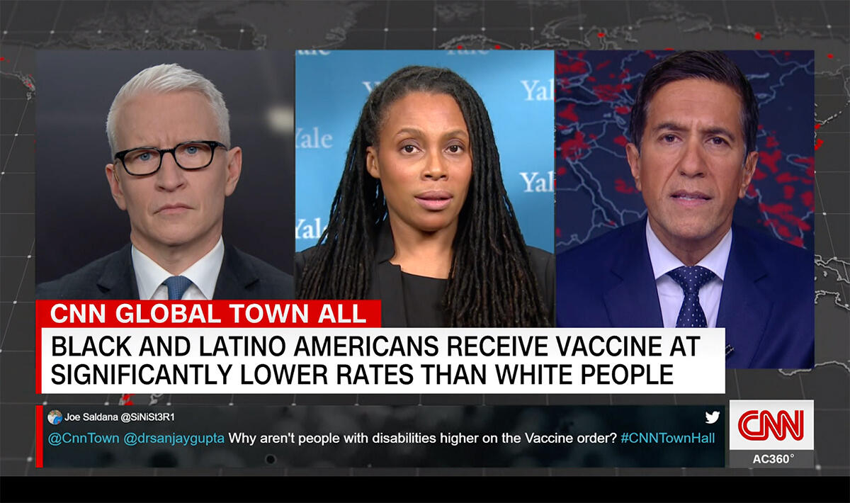 Dr. Marcella Nunez-Smith in conversation with CNN's Anderson Cooper and Dr. Sanjay Gupta on January 27