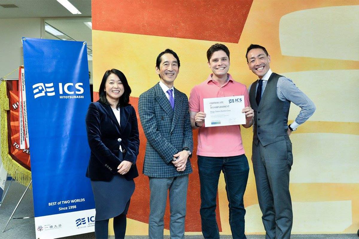 Receiving my certificate of accomplishment from Professor Emi Osono, Dean of Hitotsubashi ICS and Professor Kazuo Ichijo, and Professor Yoshinori Fujikawa at the end of an intense Global Network Week. Photo by Hitotsubashi ICS