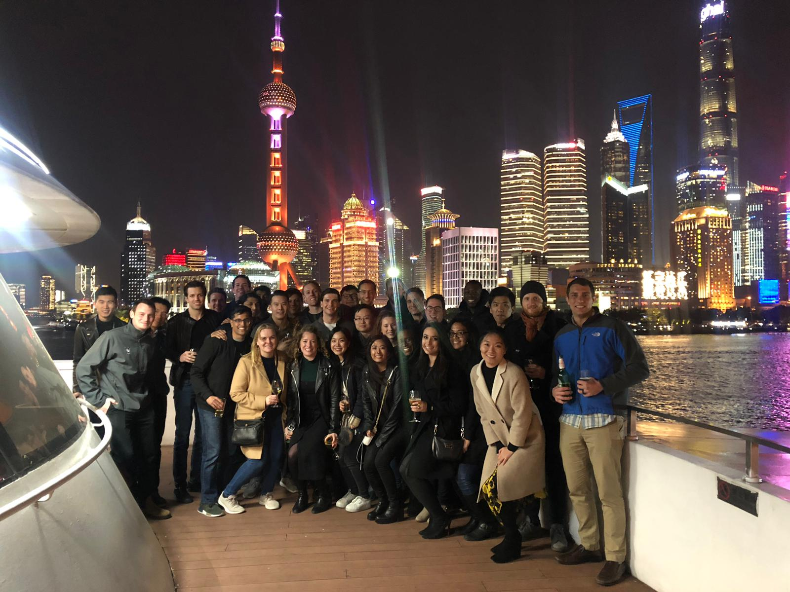 Group photo on the Huangpu river cruise.