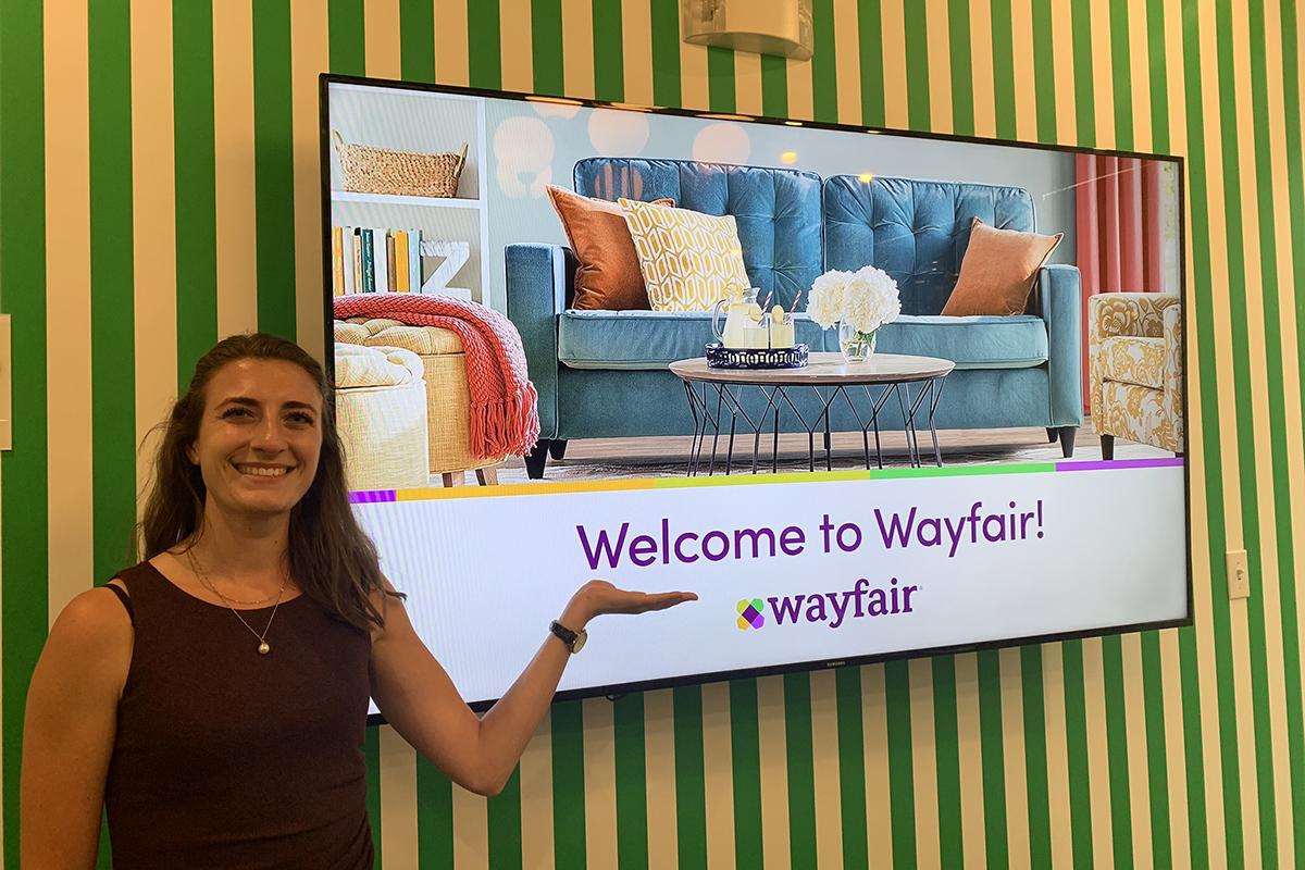 Jordan Woll with Wayfair sign