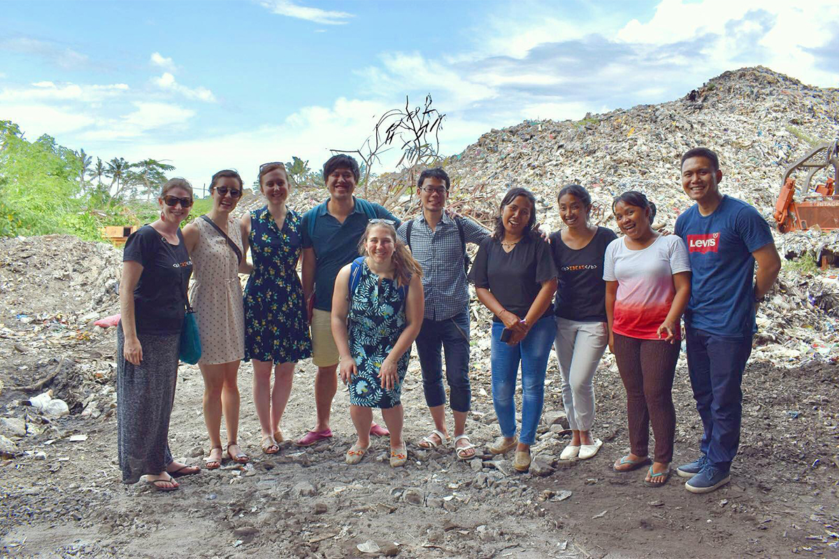 Members of the Global Social Entrepreneurship course at a landfill in Bali, Indonesia